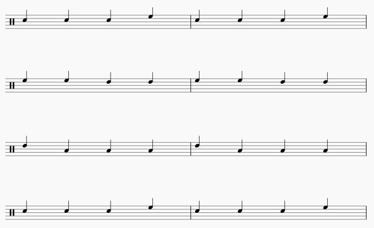 3拍フレーズ 2小節