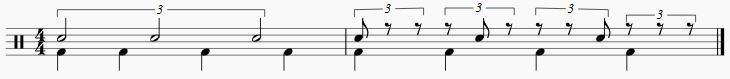 4拍3連のタイミング