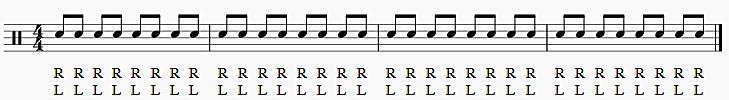 8分音符の両手同時打ち