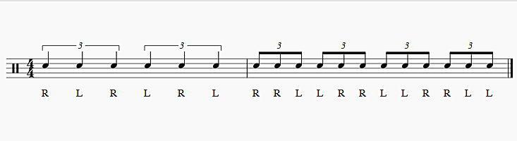 3連符ダブルストロークと2拍3連の腕のモーション