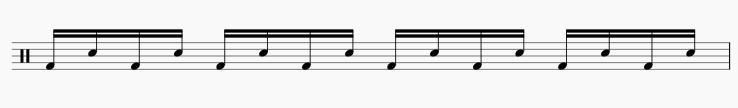 バスドラムとスネアの交互打ち