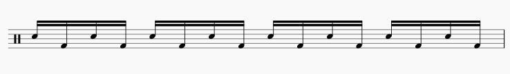スネアドラムとバスドラムの交互打ち