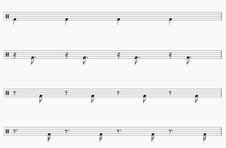 16分音符のバスドラム