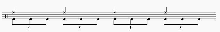 バスドラム 三連打